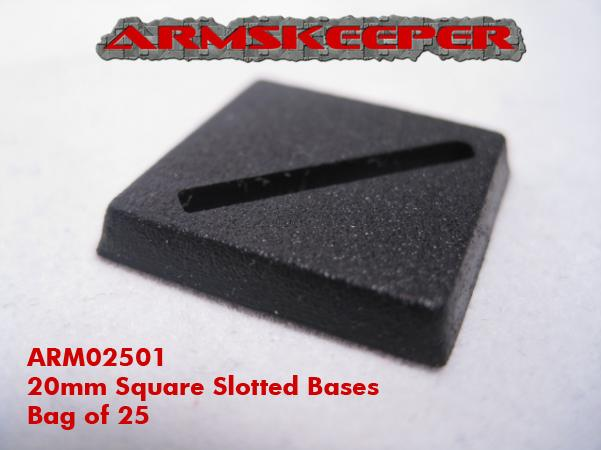 ARM02501 20mm Square Slotted Bases (25)