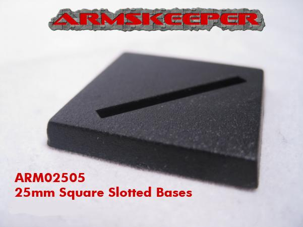 ARM02505 25mm Square Slotted Bases (20)