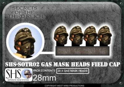 SOTR02 SHS German Gas Mask Heads w/ Field Caps